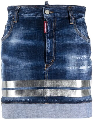 DSQUARED2 Holographic-Stripe Denim Miniskirt