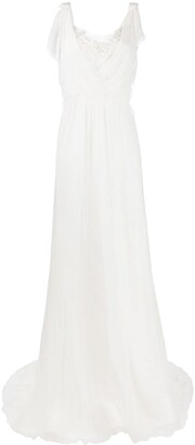 Alberta Ferretti Sheer Panel Floor-Length Gown