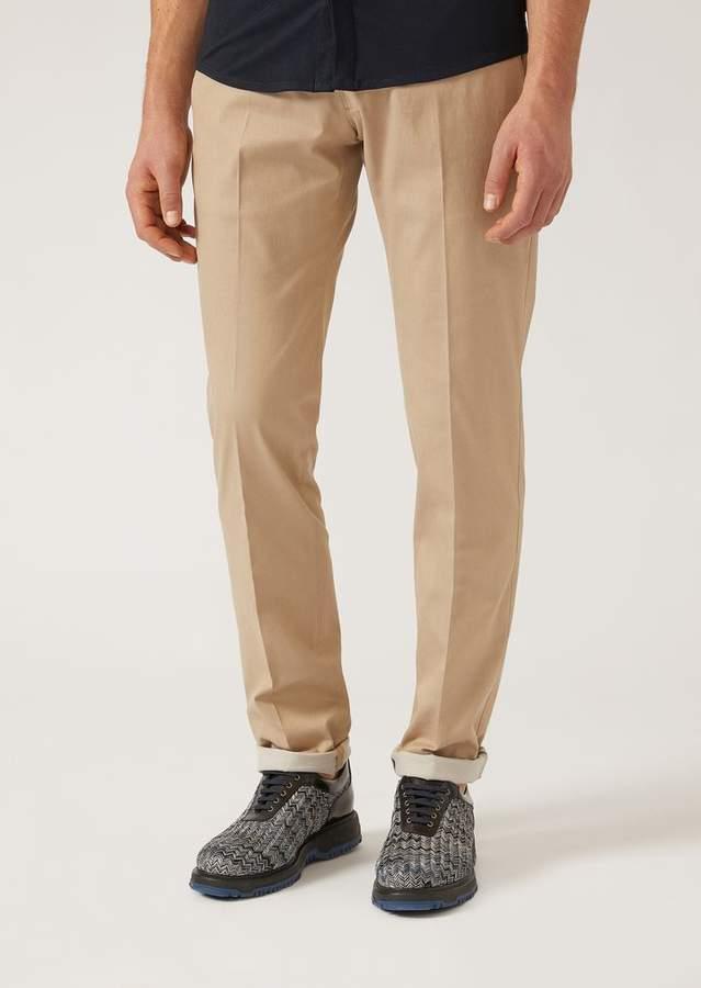 Emporio Armani Stretch Cotton Twill Trousers
