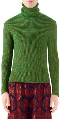 Gucci Lurex Cableknit Turtleneck Sweater