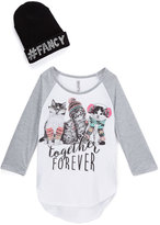Beautees Gray 'Together Forever' Raglan Tee & Beanie - Girls