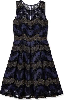 Sandra Darren Women's Sd Collection Sleeveless Mesh with Flocking Dres