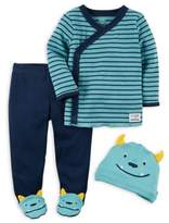 Carter's Preemie 3-Piece Monster Side-Snap T-Shirt, Pant, and Hat Set in Blue