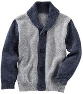Osh Kosh Toddler Boy Two-Tone Gray Cowlneck Cardigan Sweater