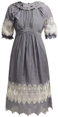Thierry Colson Daria Cotton-blend Dress - Grey White