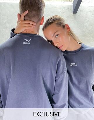 Puma logo sweatshirt in washed black