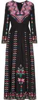 Ulla Johnson Irina Embroidered Silk-canvas Maxi Dress - Black