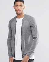 Asos Knitted Bomber In Grey