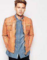 Pepe Jeans Prime Leather Jacket - Brown