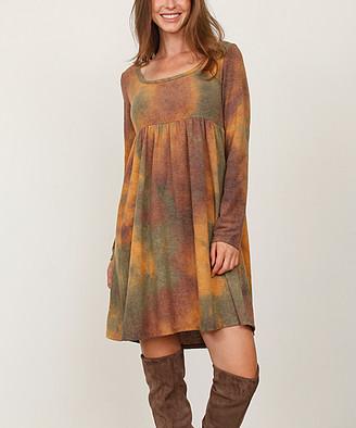Egs By Eloges egs by eloges Women's Casual Dresses MUSTARD - Mustard & Green Watercolor Long-Sleeve Empire-Waist Dress - Women & Plus