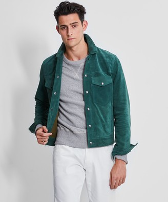 Todd Snyder Italian Suede Snap Dylan Jacket in Eucalyptus