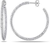 Zales 1/2 CT. T.W. Diamond Pavé Hoop Earrings in Sterling Silver
