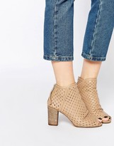 Dune Johah Perforated Leather Peep Toe Shoe Boots