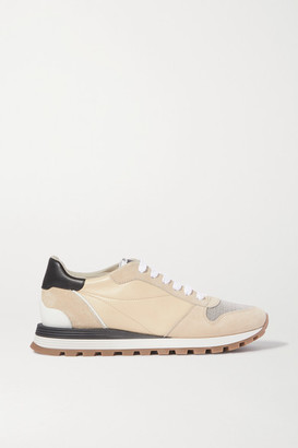 Brunello Cucinelli Bead-embellished Nylon, Suede And Leather Sneakers - Beige