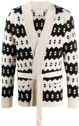 Laneus patterned knit cardigan