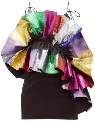 Germanier - Recycled Glitter-ruffle Satin Slip Dress - Black Multi