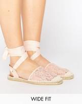 Asos JUBA Wide Fit Tie Leg Lace Espadrilles