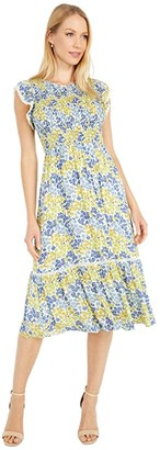 Lost + Wander Blossom and Bloom Midi Dress (Blue/Yellow Floral) Women's Dress