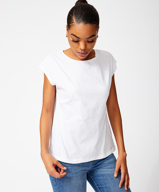 Tommy Hilfiger Women's Tunics 8IW:BRT - Bright White Floral-Embroidery Cap-Sleeve Top - Women