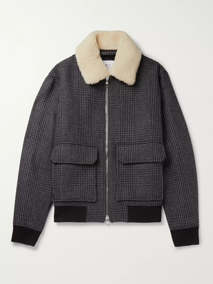 Mr P. Shearling-Trimmed Prince Of Wales Checked Wool-Blend Bomber Jacket