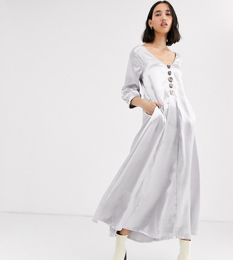 NATIVE YOUTH exclusive volume maxi smock dress in shimmer fabric