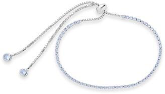 Sterling Forever Aquamarine CZ Slider Bracelet