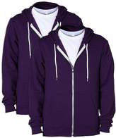 American Apparel mens Unisex Flex Fleece Zip Hoodie(F497)-IMPERIAL PURPLE-M-2PK