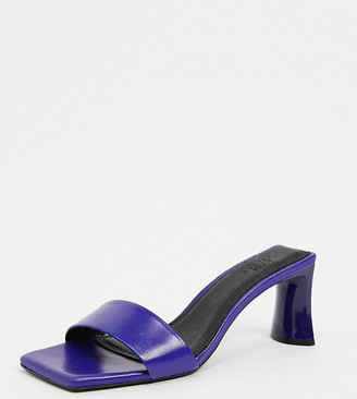 ASOS DESIGN Wide Fit Hasty premium leather mid-heeled mules in purple