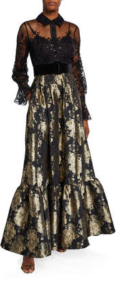 Badgley Mischka Long-Sleeve Lace Top & Brocade Skirt Combo Shirtdress