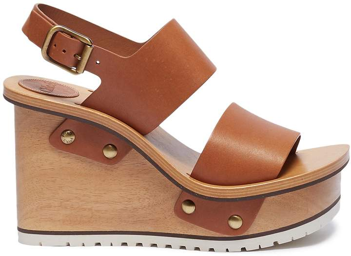 Chloé Buckle leather wooden clog wedge sandals