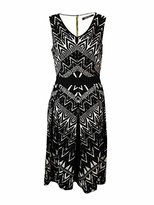 Ellen Tracy Women's Sleeveless V-Neck Printed Fit and Flare Dress