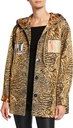 Burberry Leopard Print Hooded Boxy Jacket