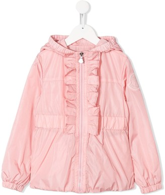 Moncler hooded ruffle trimmed jacket