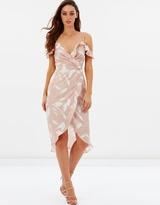 Peony Cold Shoulder Ruffle Wrap Dress