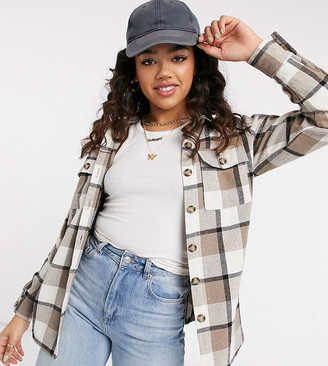 In The Style exclusive oversized check shirt in cream multi