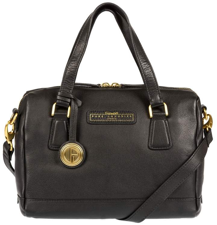 Pure Luxuries London - Black 'Dahlia' Soft Leather Handbag - Deluxe Collection