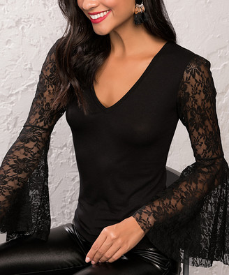 Milan Kiss Women's Blouses BLACK - Black Lace-Accent Bell-Sleeve V-Neck Top - Women