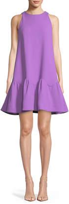 Lela Rose Detachable-Collar Sleeveless Flounce-Hem Trapeze Dress
