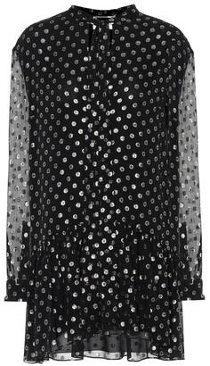 Saint Laurent Silk-blend fil coupe minidress