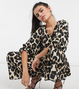 ASOS DESIGN petite smock jumpsuit with tie sleeve detail in leopard print