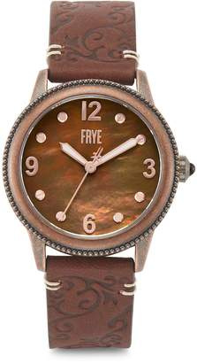 Frye Sabrina Filigree Stainless Steel Case Embossed Leather-Strap Watch