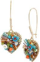 Betsey Johnson Weave and Sew Mixed Multi Colored Bead and Flower Heart Long Drop Earring