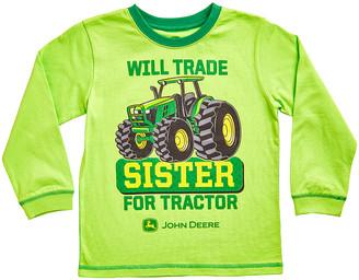 John Deere Boys' Tee Shirts LIME - Lime Green 'Will Trade Sister' Crewneck Tee - Boys