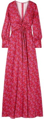 Lela Rose Twist-front Floral-print Twill Gown