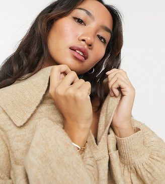 ASOS DESIGN Petite co-ord jumper with open collar detail in oatmeal