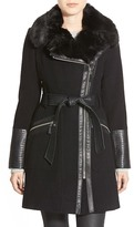 Via Spiga Faux Leather & Faux Fur Trim Belted Wool Blend Coat