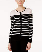 August Silk Illusion-Stripe Cardigan