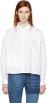 McQ by Alexander McQueen White Cropped Ruffle Shirt