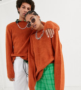 COLLUSION Unisex brushed crew neck sweater in rust