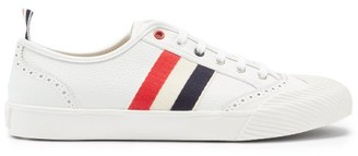 Thom Browne Tricolour-stripe Perforated Leather Trainers - White